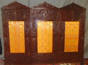 Antique Hand Carved Chinese Changing Screen W/ Flowers