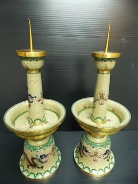 Vintage Chinese Cloisonne Dragon Candlesticks W/ Gold