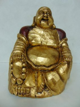Antique Hand Carved Wooden Buddha Statue W/ Gold Gilt