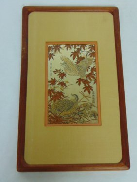 Decorative Chinese Etching With 24kt Gold & Pure Silver