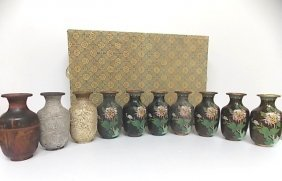Rare Vintage Chinese Stages Of Cloisonne Vases W/ Gold