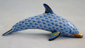 Herend, Blue Fishnet Dolphin