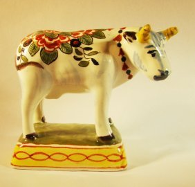 Hand Painted Porcelain Cow