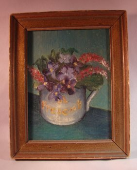 Miniature Painting On Brass Easel, Still Life