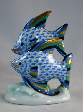 """Herend, Pair Of Fish, Multicolor Fishnet. 4 1/2""""h"""