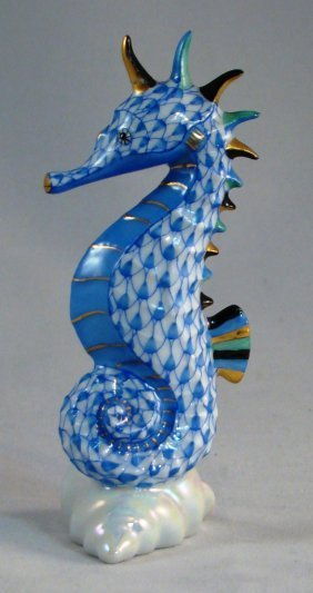 """Herend, Blue Fishnet Seahorse On A Shell. 4""""h"""