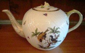 "Herend, Rothschild Bird, Tea Pot W/rose. 8""h"