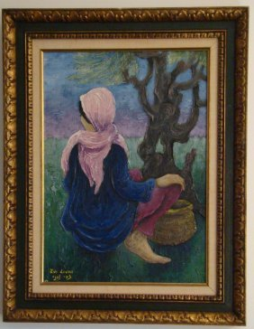 "Zvi Livni, Oil On Canvas, ""girl With Basket"", 26"" X 29"""