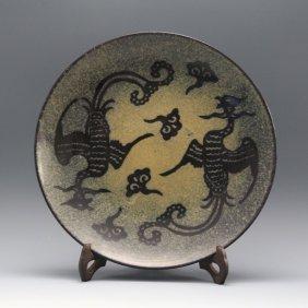 A Large Chinese Song Ji Zhou Kiln Yao Bian Double Phoen