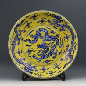 A Large Chinese Ming Yellow Ground Dragons Porcelain Pl