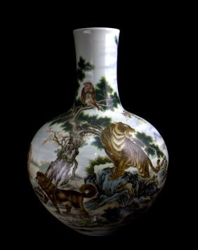 A Very Large Chinese Qing Famille Rose Zodiac Porcelain