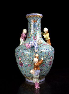 A Chinese Qing Gilt Famille Rose Five Boys Porcelain Va