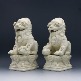A Pair Large Chinese Ming De Hua Porcelain Lions