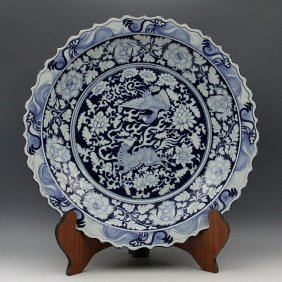 A Large Chinese Yuan Blue And White Porcelain Plate