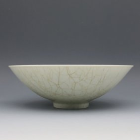 A Large Chinese Song Longqun Kiln Carved Porcelain Bowl