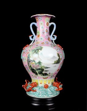 Excellent Antique Chinese Qing Famille Rose Open Landsc