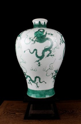 Excellent Antique Chinese Qing Green Dragons Porcelain