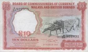 Malaya & British Borneo, 1961, $10, Big A. Xf+