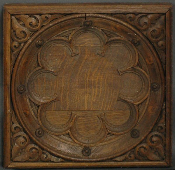 Gothic style carved wood wall panel lot