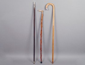 GROUP OF THREE ASSORTED WALKING CANES