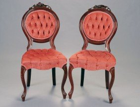 PAIR OF VICTORIAN MAHOGANY BALLOON BACK SIDE CHAIRS