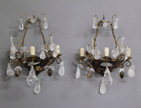 FINE PAIR OF TOLE AND ROCK CRYSTAL THREE LIGHT LUM
