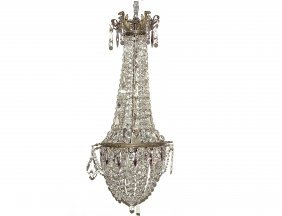 LOUIS XV STYLE GLASS AND METAL TWO LIGHT CHANDELIER