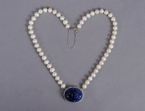 CARVED MOGHUL SAPPHIRE, DIAMOND AND PEARL NECKLACE