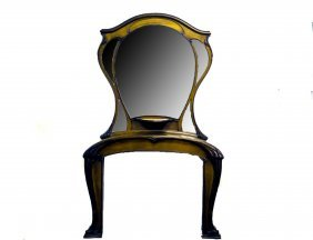 ART NOUVEAU FRUITWOOD MANTEL AND MIRROR