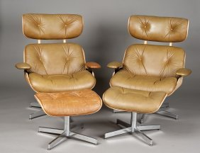 PAIR OF LAMINATED LOUNGE CHAIRS AND STOOLS