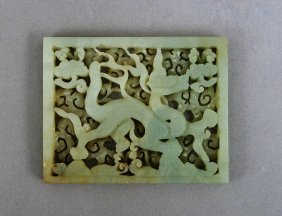CELADON JADE DRAGON PLAQUE