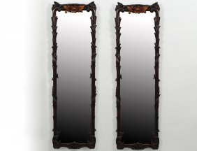 PAIR OF PARCEL GILT AND PAINTED WOOD MIRRORS