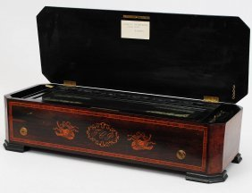 INLAID ROSEWOOD CASED CYLINDER MUSIC BOX