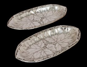 PAIR OF STERLING SILVER LEAF DISHES