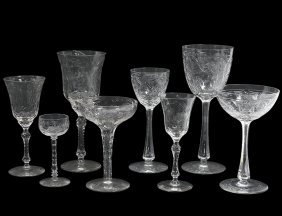 Fifty-eight Piece Assembled Engraved Glass Part