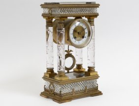 Good Crystal And Bronze Portico Clock