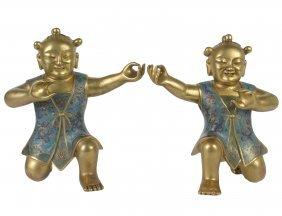 Fine Pair Of Gilt Bronze And Cloisonne Enamel Children