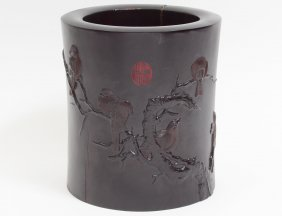 Carved Large Zitan Brush Pot