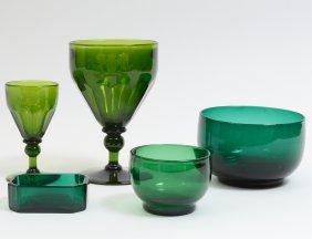 Twenty-three Piece Green Glass Table Service