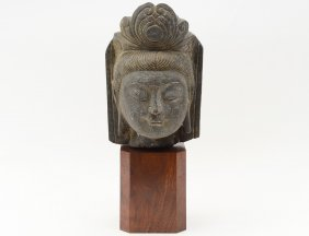 Archaic Carved Stone Head Of Buddha
