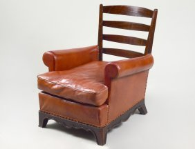 Mahogany And Leatherette Ocean Liner's Deck Arm Chair