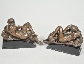 Pair Of Patinated Bronze Figures