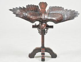Meiji Style Patinated Bronze Eagle On Stand