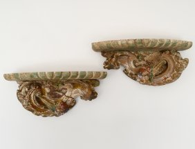 Pair Of Carved And Painted Wood Wall Brackets