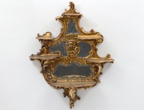 Empire Style Giltwood Mirror/shelves