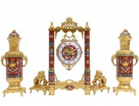 Important Three Piece Dore Bronze And Cloisonne Clock