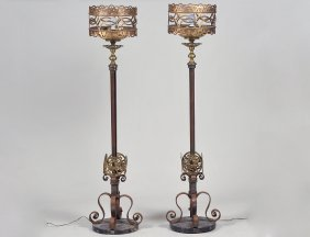 Pair Of Renaissance Style Brass Floor Lamps