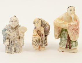 Group Of Three Carved Ivory Netsukes/studies