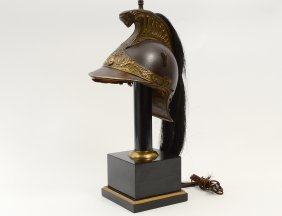 Patinated And Gilt Metal Helmet