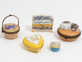 Group Of Five Assorted Pill And Patch Boxes
